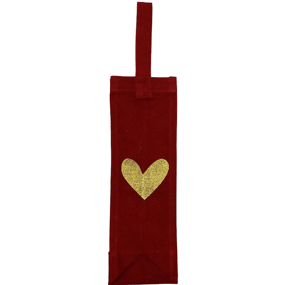 Gold Heart Fabric Bottle Bag Image #2