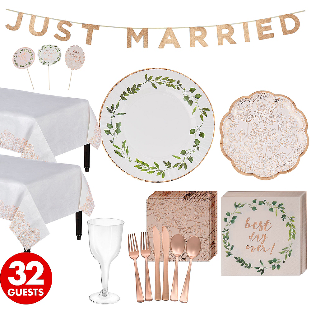 Rose Gold Wedding Party Kit for 32 Guests Image #1