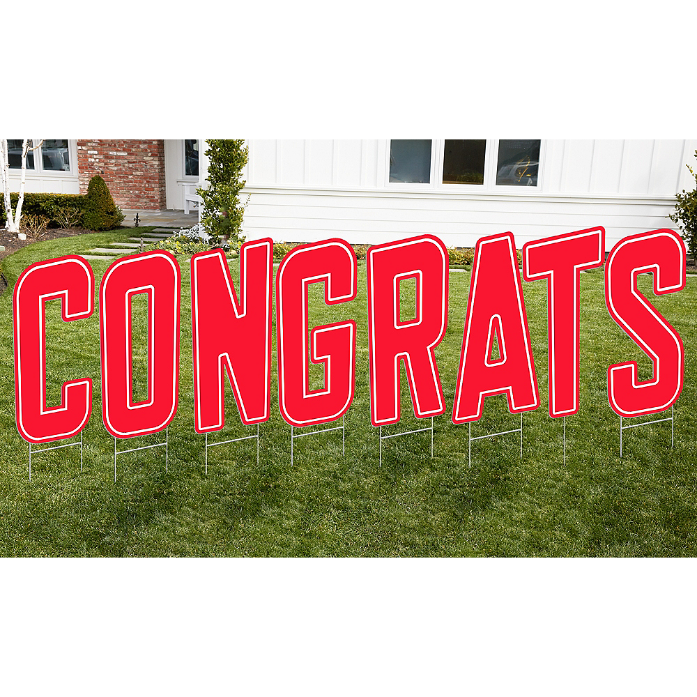 Red Congrats Letter Outdoor Sign Kit Image #1