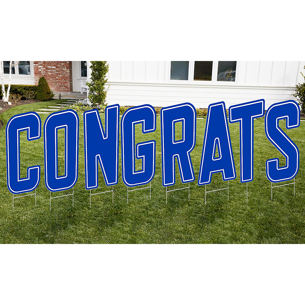 Royal Blue Congrats Letter Outdoor Sign Kit Image #1