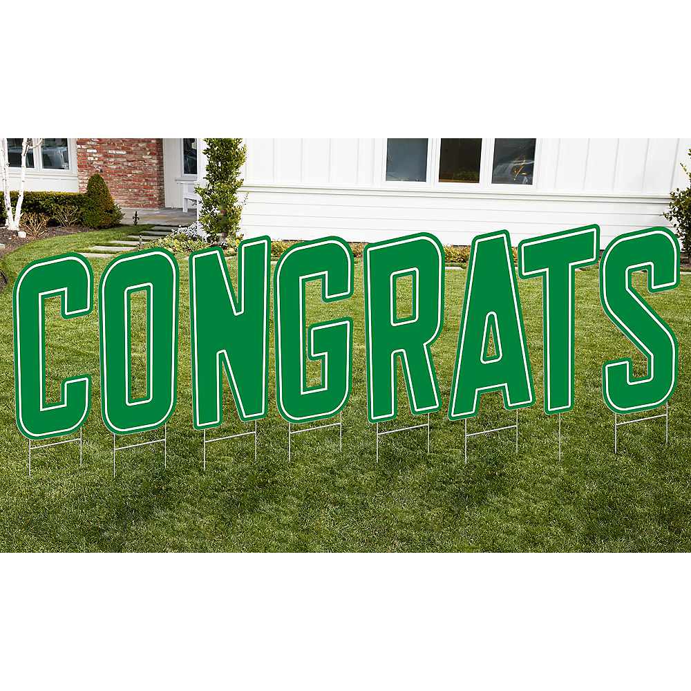 Green Congrats Letter Outdoor Sign Kit Image #1