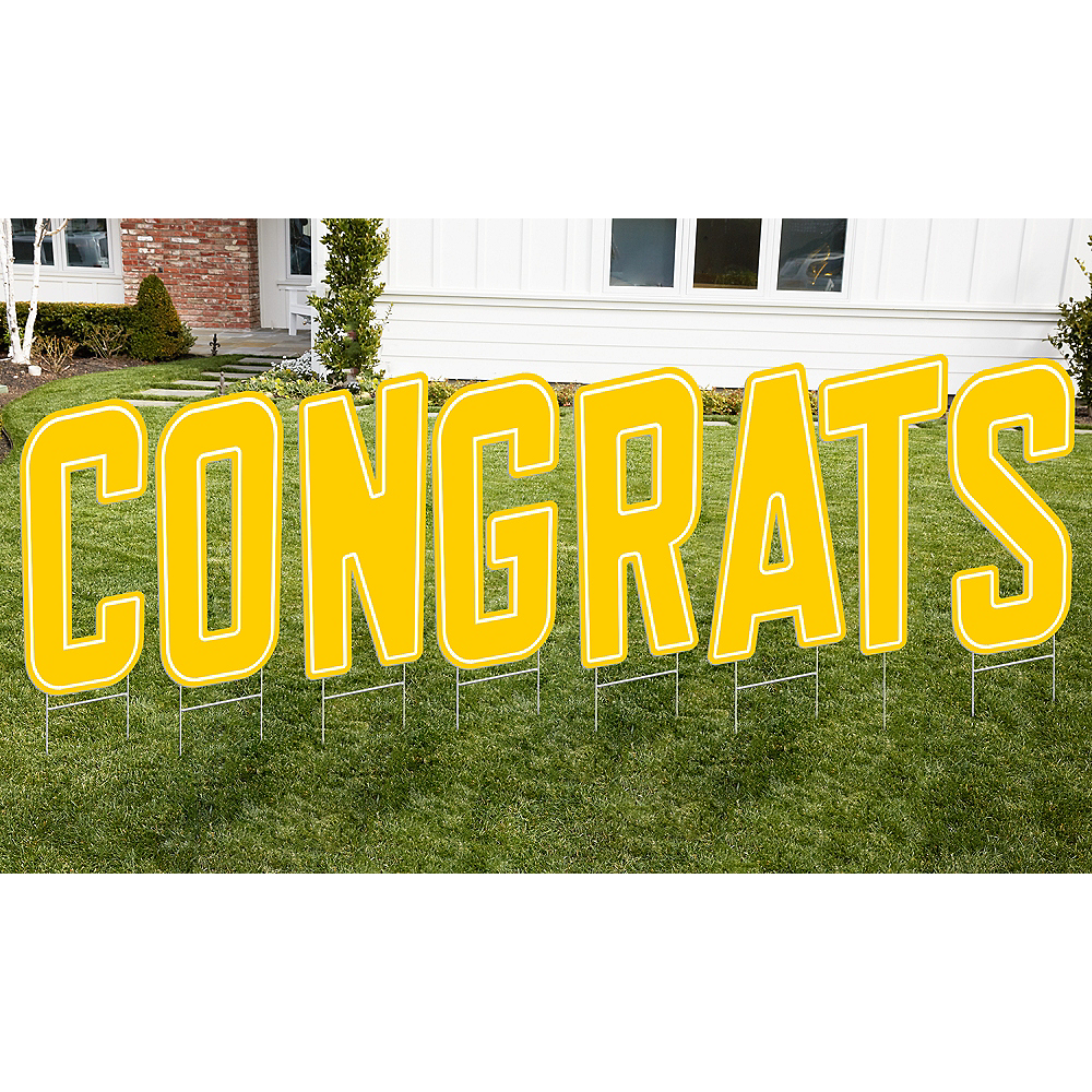 Yellow Congrats Letter Outdoor Sign Kit Image #1