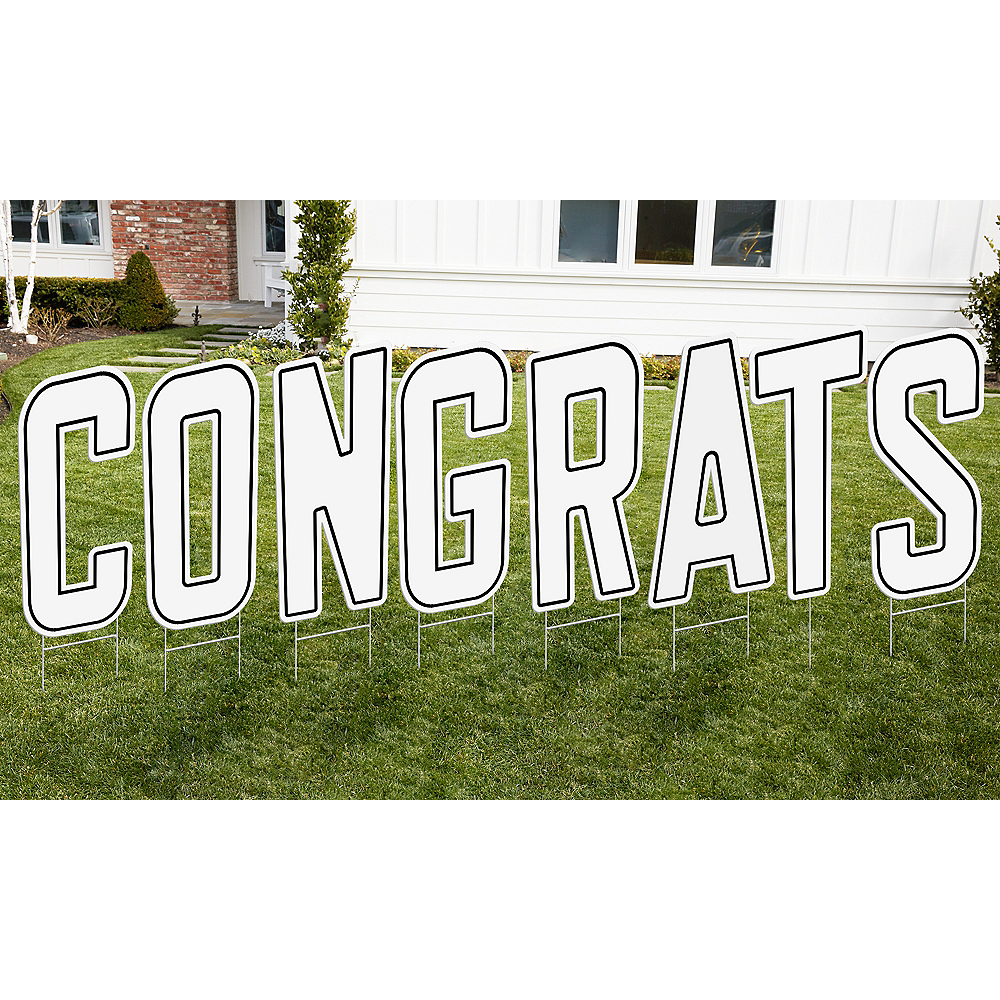 White Congrats Letter Outdoor Sign Kit Image #1