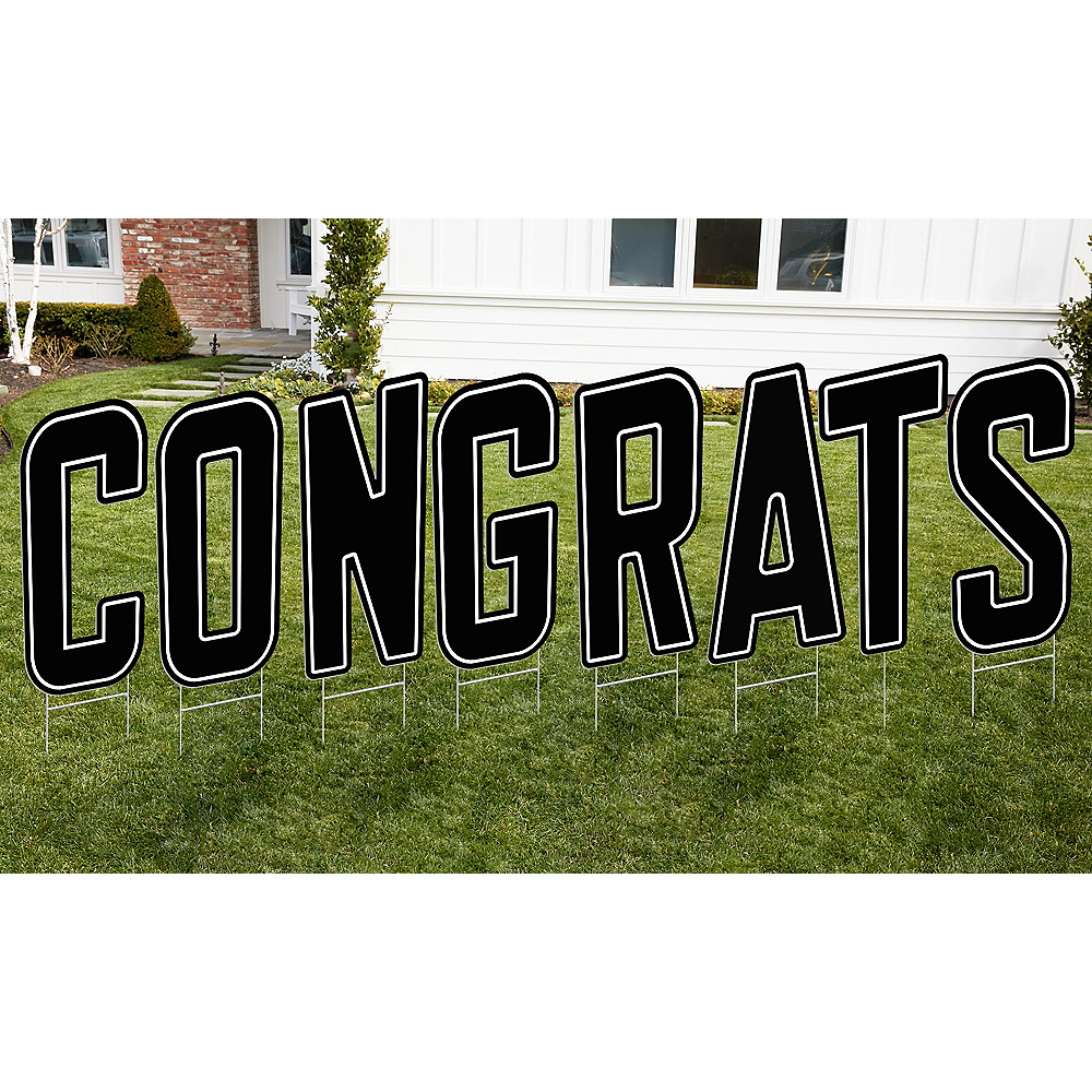 Black Congrats Letter Outdoor Sign Kit Image #1