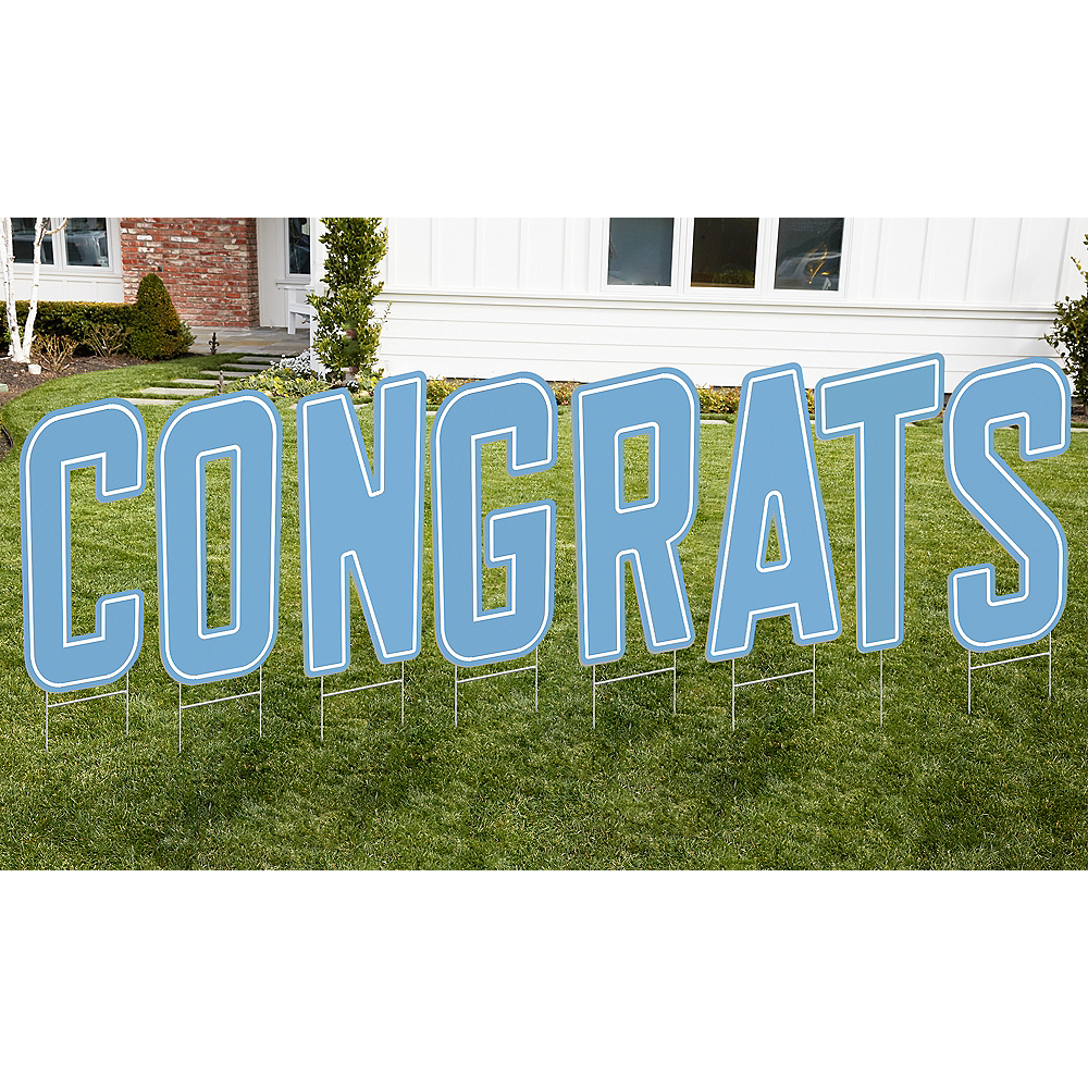 Pastel Blue Congrats Letter Outdoor Sign Kit Image #1