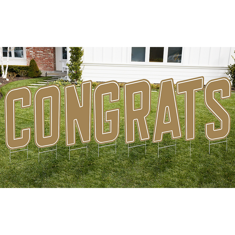 Gold Congrats Letter Outdoor Sign Kit Image #1
