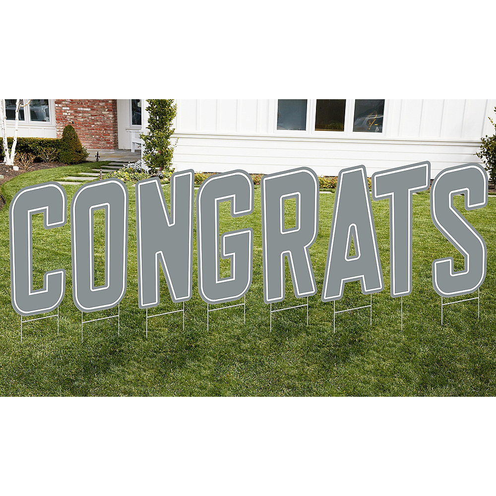 Silver Congrats Letter Outdoor Sign Kit Image #1