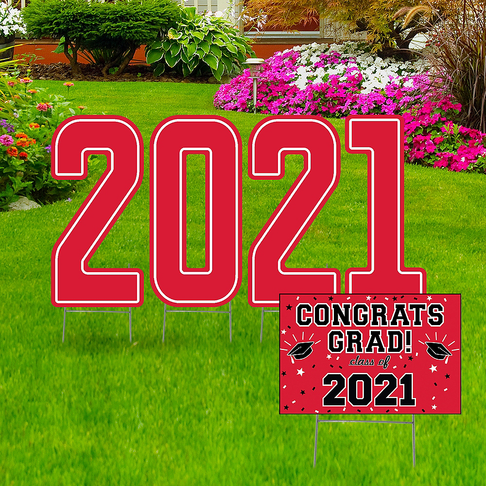 Nav Item for Giant Red Graduation 2019 Number Outdoor Sign Kit Image #1