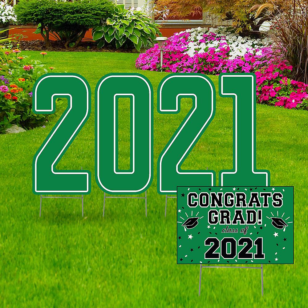Giant Green Graduation 2019 Number Outdoor Sign Kit Image #1