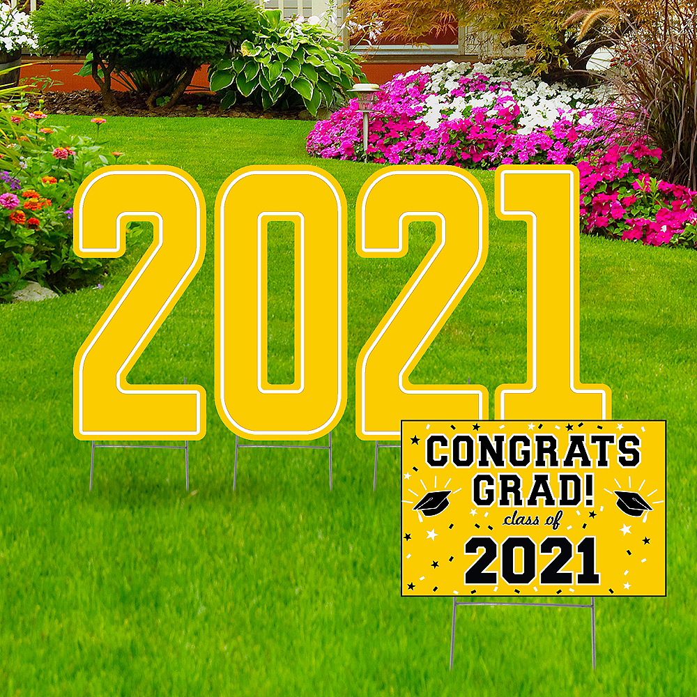 Giant Yellow Graduation 2019 Number Outdoor Sign Kit Image #1