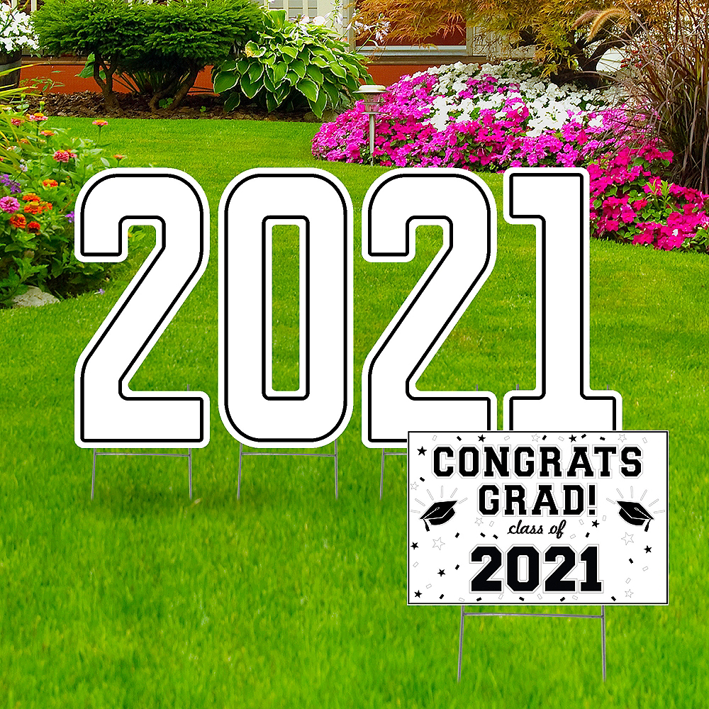Giant White Graduation 2019 Number Outdoor Sign Kit Image #1