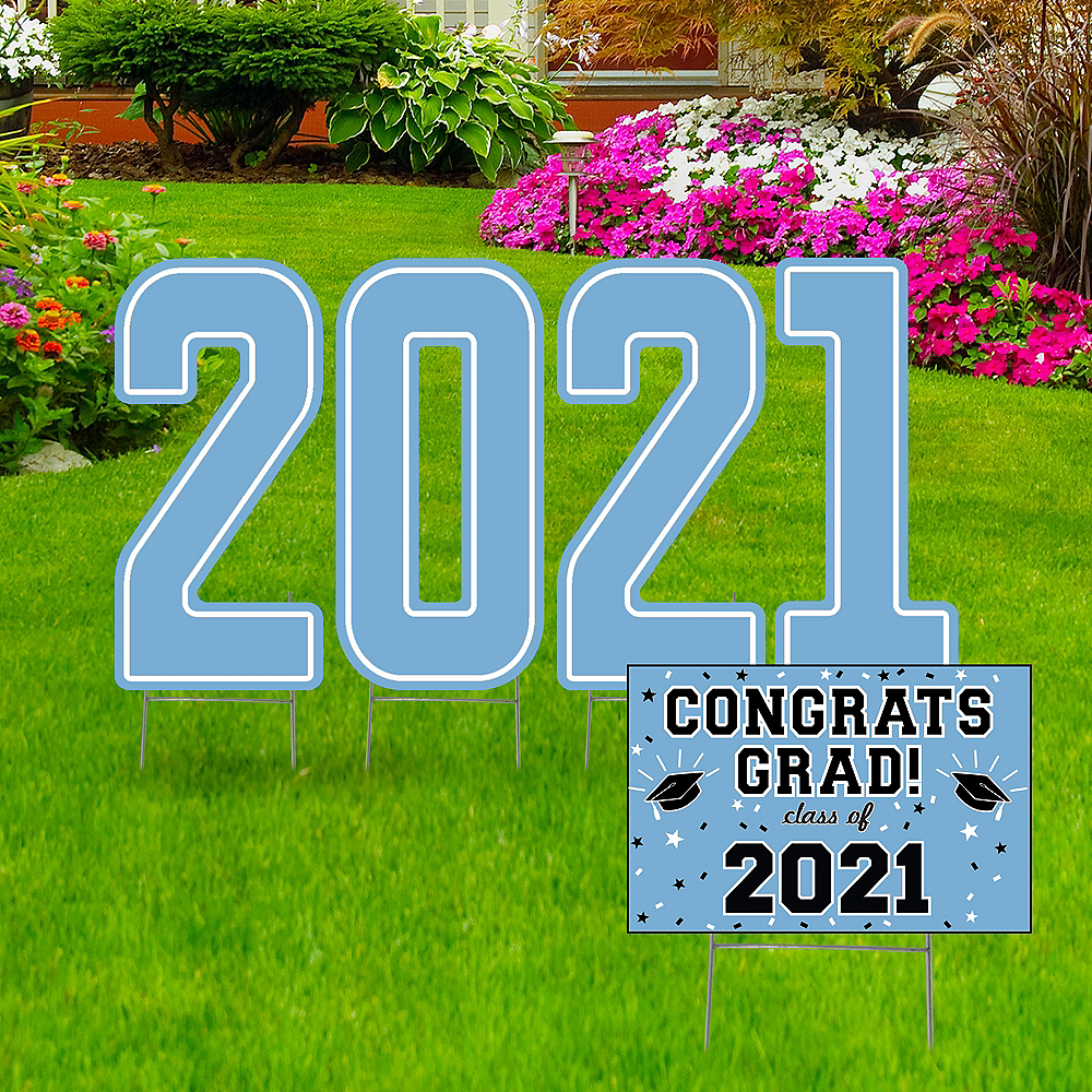 Giant Pastel Blue Graduation 2019 Number Outdoor Sign Kit Image #1