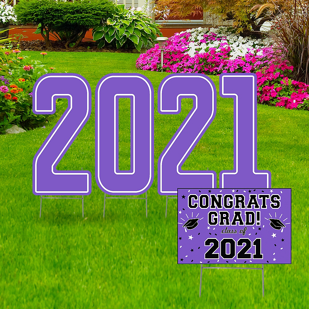 Giant Purple Graduation 2019 Number Outdoor Sign Kit Image #1