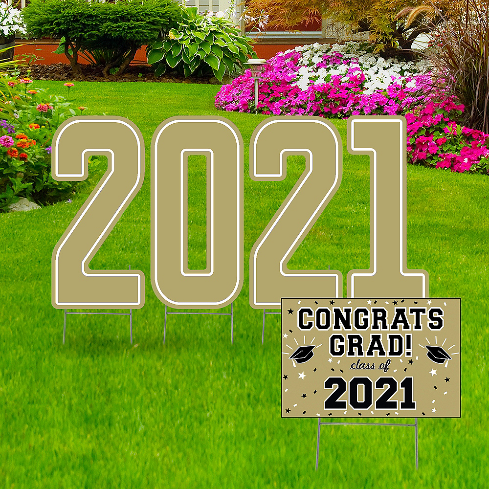 Giant Gold Graduation 2019 Number Outdoor Sign Kit Image #1