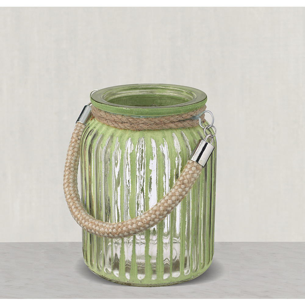 Green Striped Jars with Rope Handles 3ct Image #1