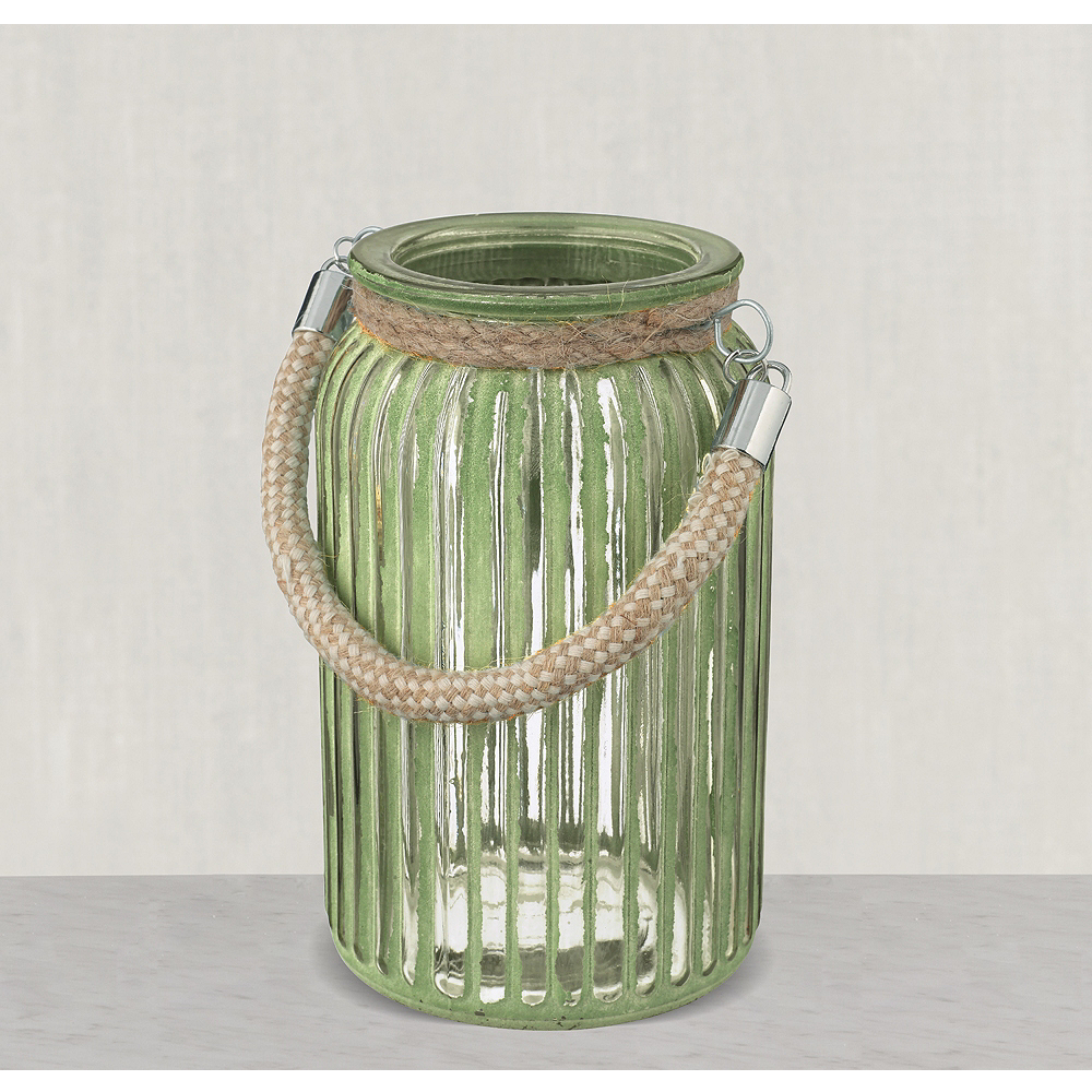 Large Green Striped Jars with Rope Handles 3ct Image #1