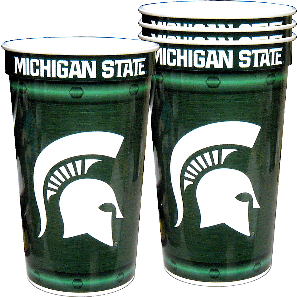 Michigan State Spartans Plastic Cups 4ct Image #1