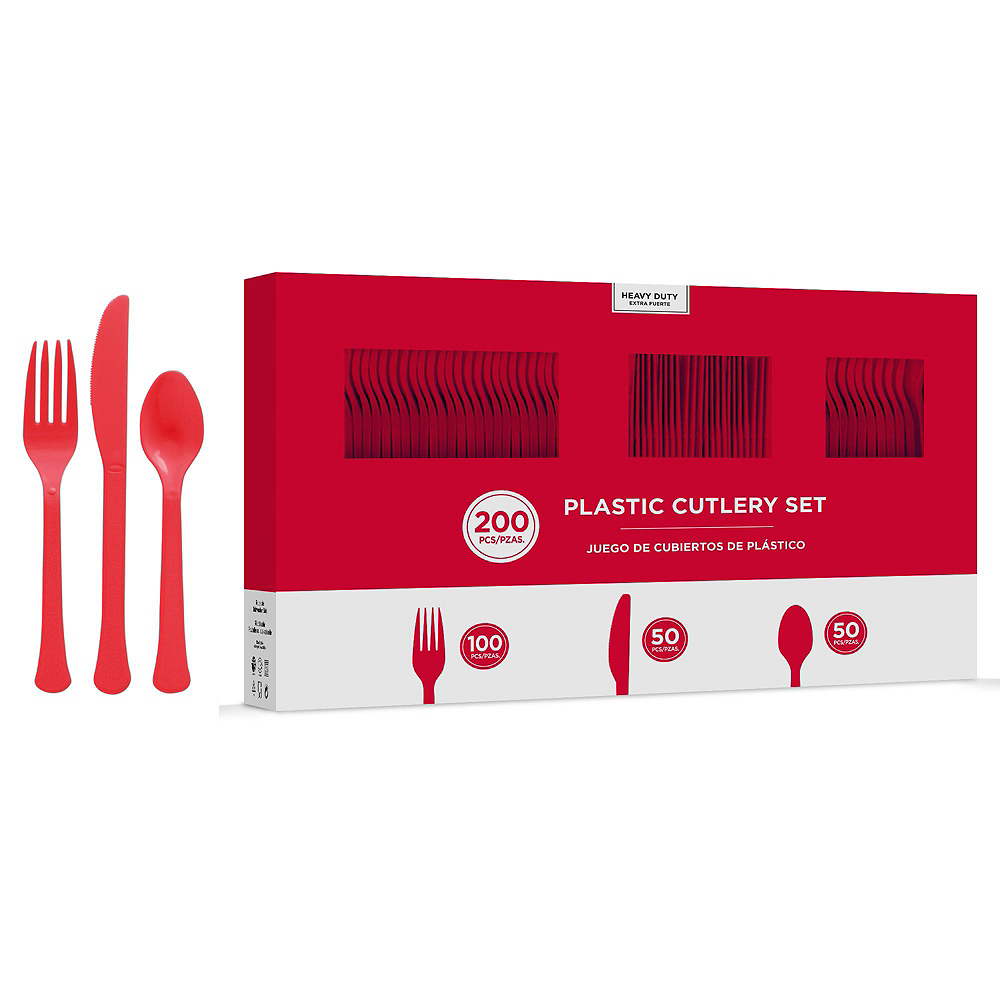 Red Plastic Tableware Kit for 100 Guests Image #8