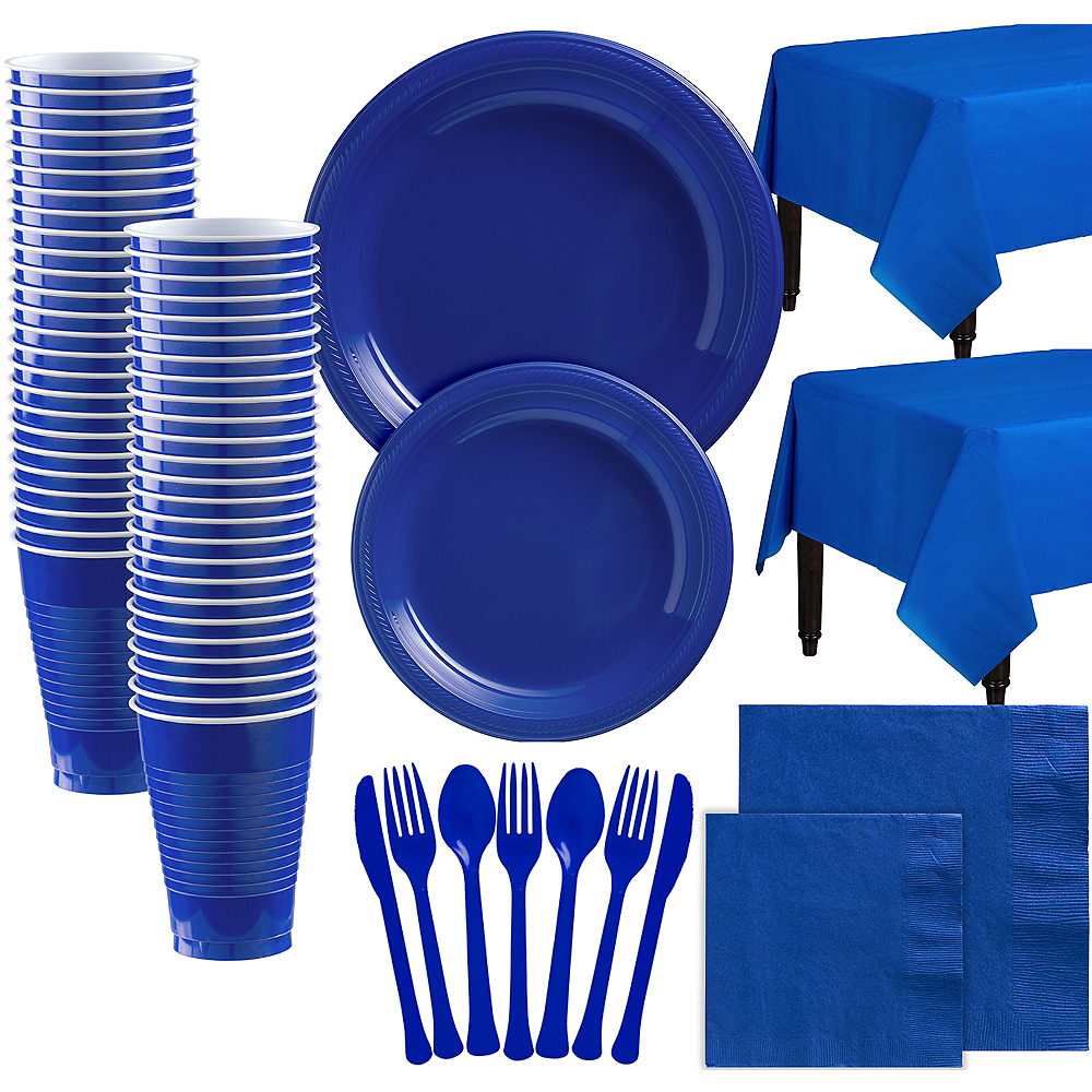 Royal Blue Plastic Tableware Kit for 100 Guests Image #1