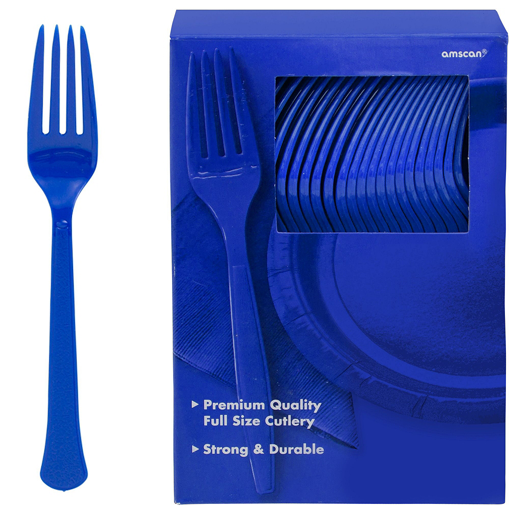 Royal Blue Plastic Tableware Kit for 100 Guests Image #9