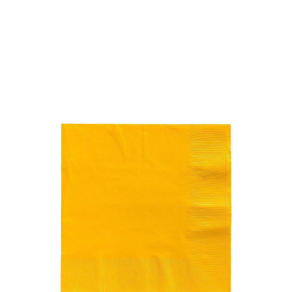 Sunshine Yellow Plastic Tableware Kit for 100 Guests Image #4