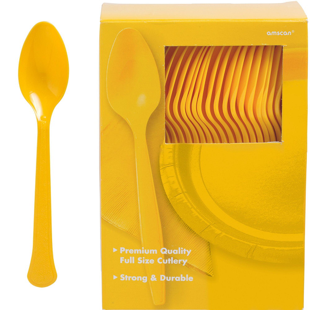 Sunshine Yellow Plastic Tableware Kit for 100 Guests Image #10