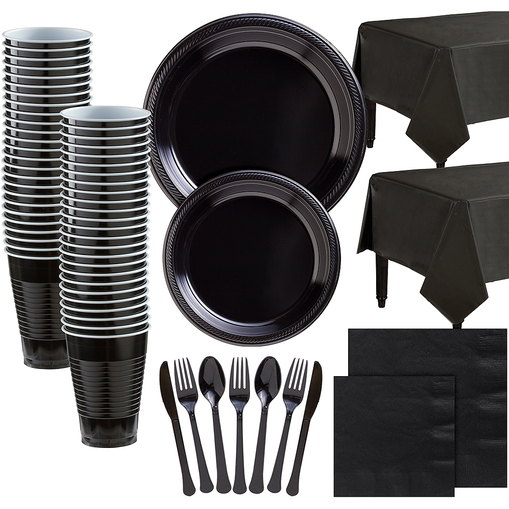 Black Plastic Tableware Kit for 100 Guests Image #1