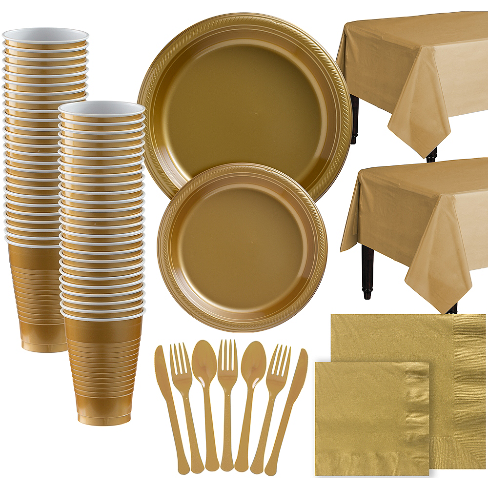 Gold Plastic Tableware Kit for 100 Guests Image #1