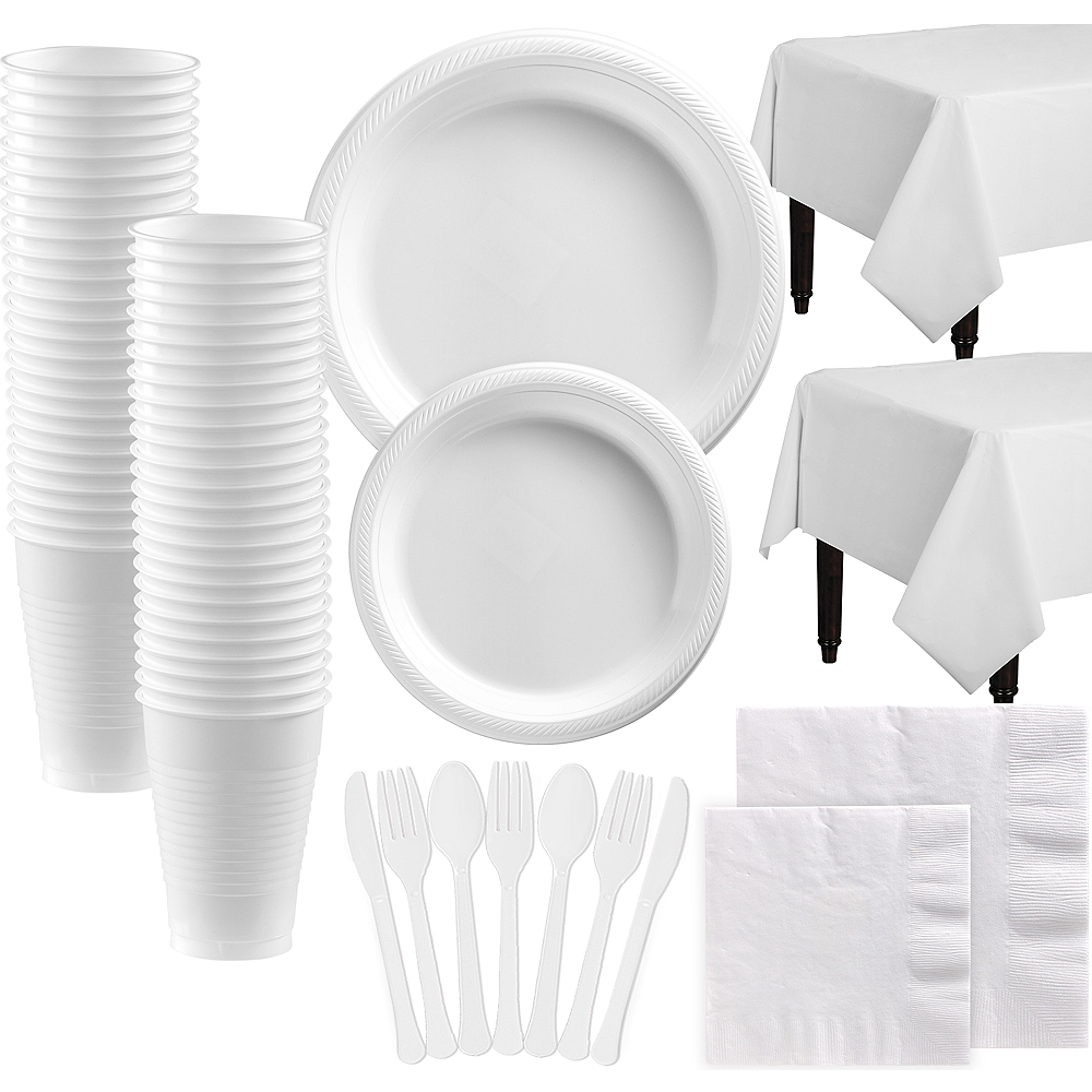 White Plastic Tableware Kit for 100 Guests Image #1