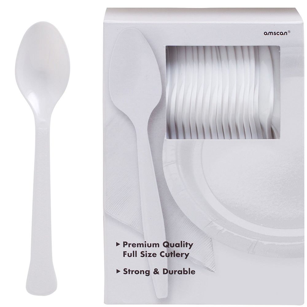 White Plastic Tableware Kit for 100 Guests Image #10