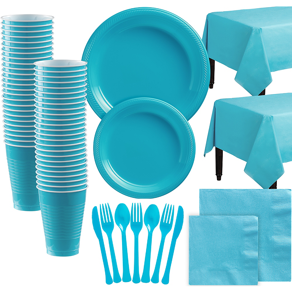 Caribbean Blue Plastic Tableware Kit for 100 Guests Image #1