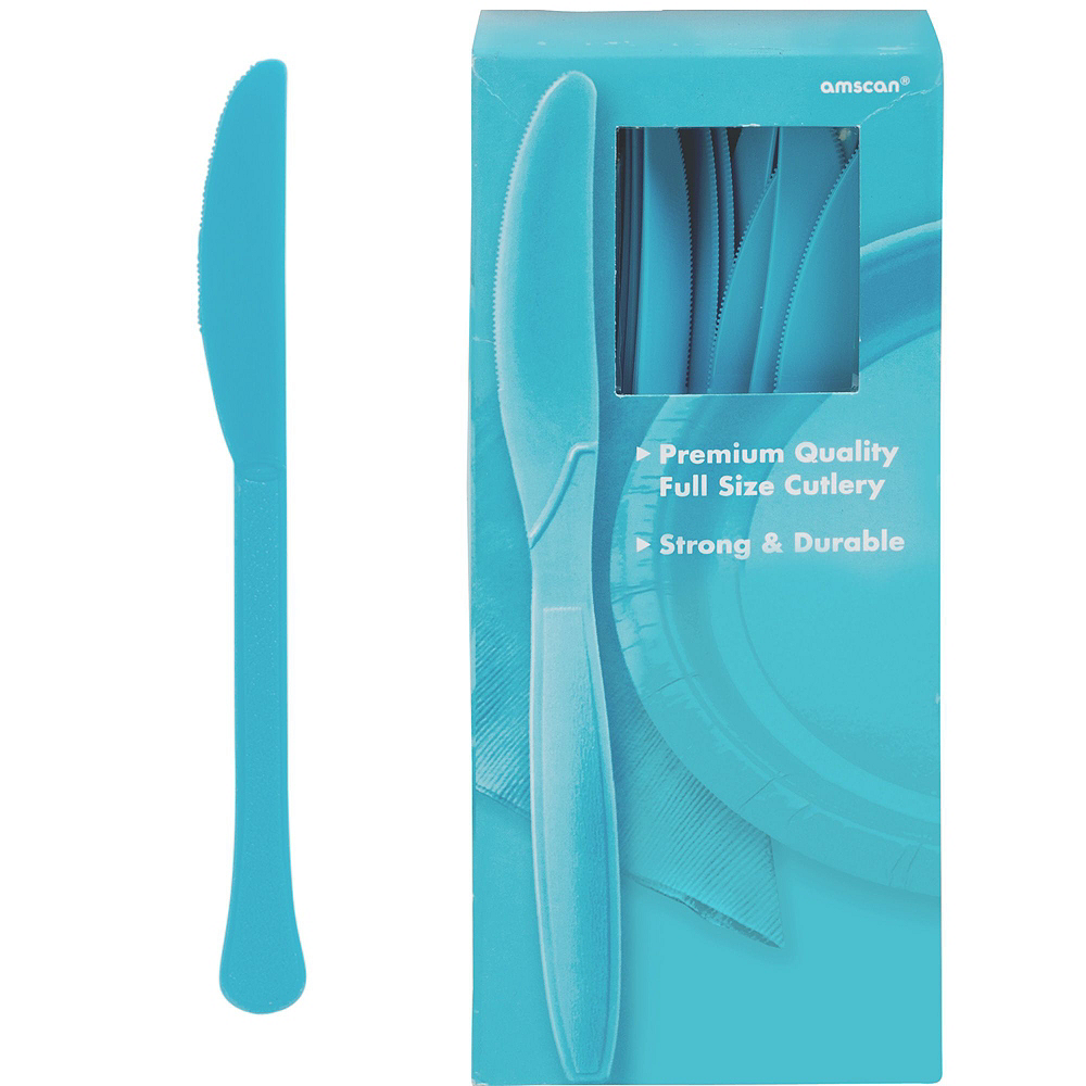 Caribbean Blue Plastic Tableware Kit for 100 Guests Image #9