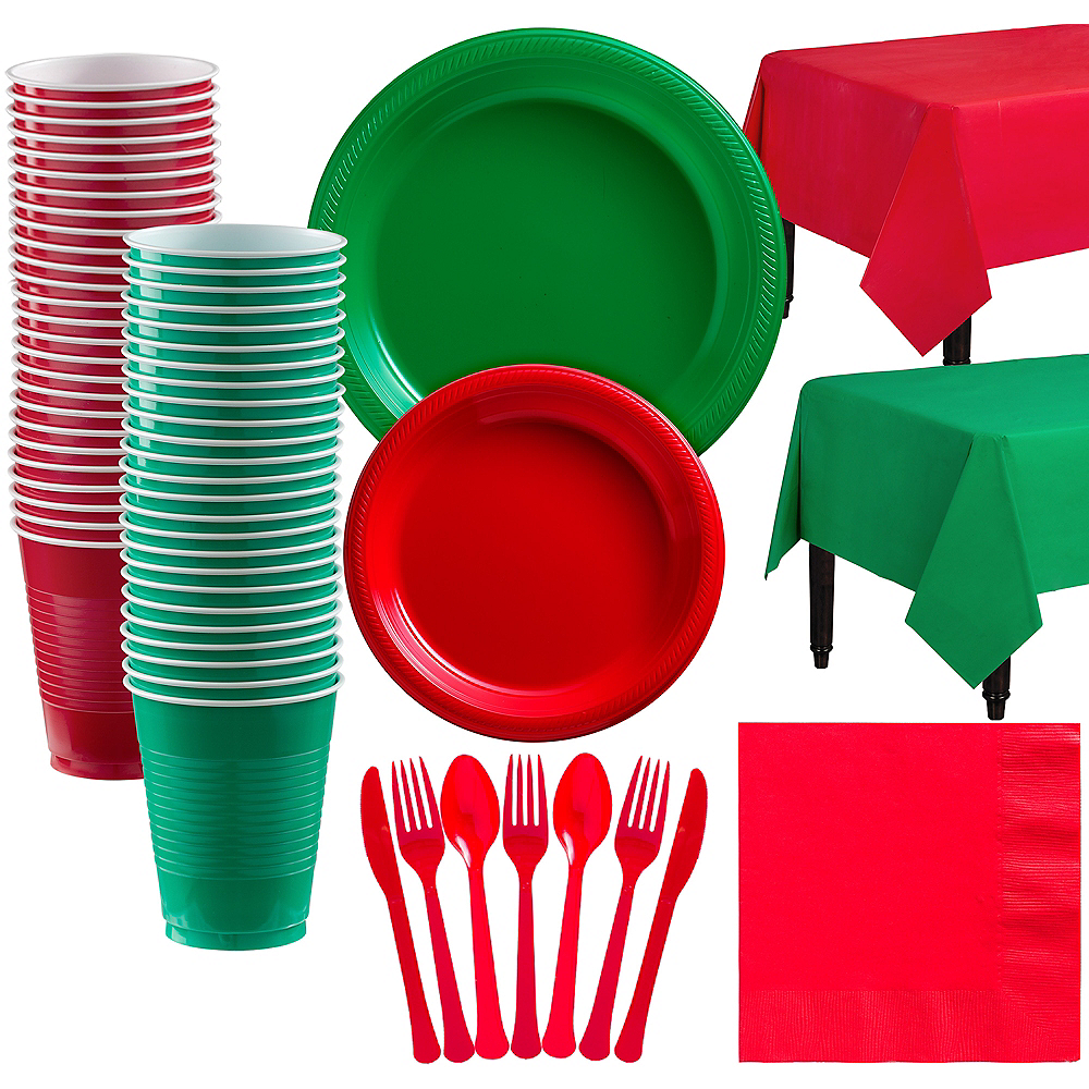 Red & Festive Green Plastic Tableware Kit for 100 Guests Image #1