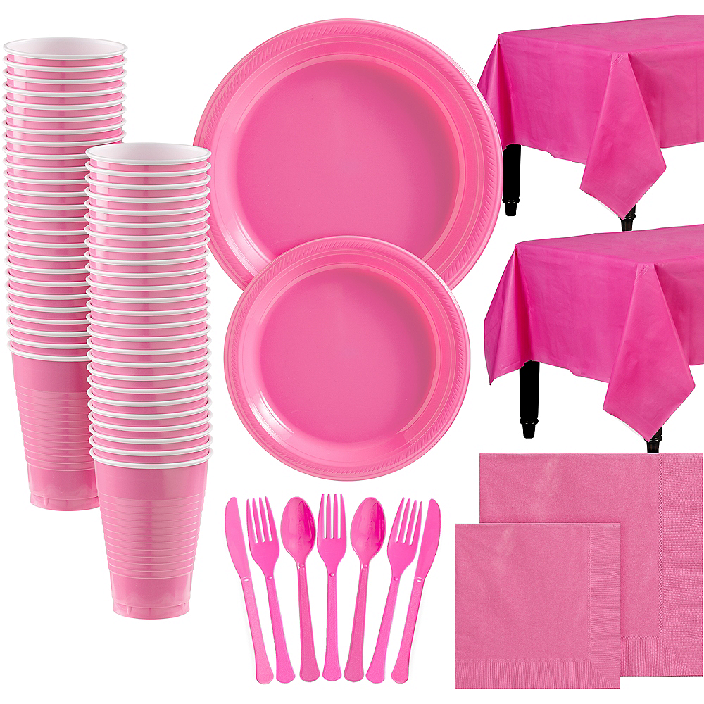 Bright Pink Plastic Tableware Kit for 100 Guests Image #1
