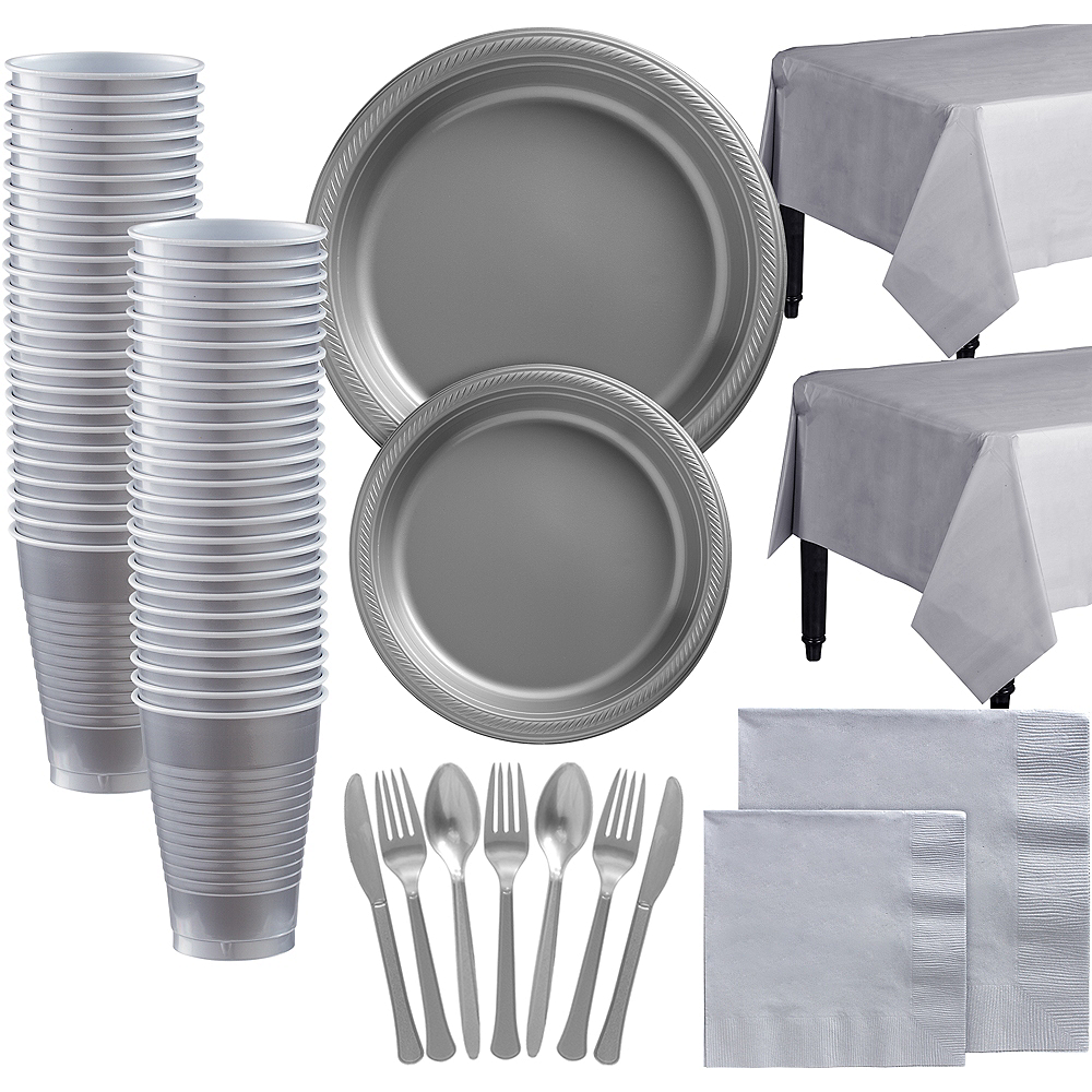 Silver Plastic Tableware Kit for 100 Guests Image #1