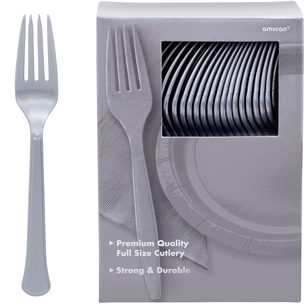Silver Plastic Tableware Kit for 100 Guests Image #10