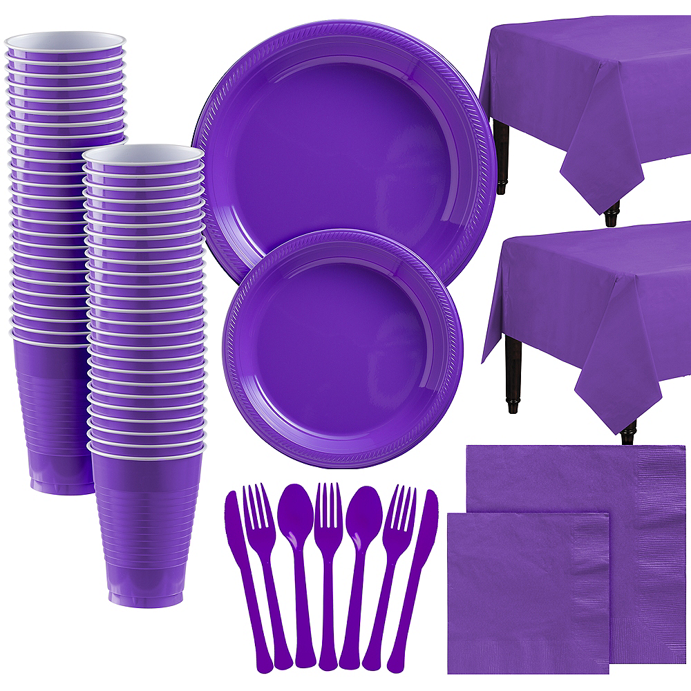Purple Plastic Tableware Kit for 100 Guests Image #1