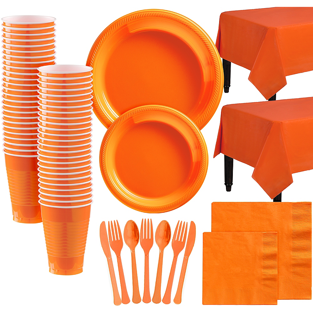 Orange Plastic Tableware Kit for 100 Guests Image #1