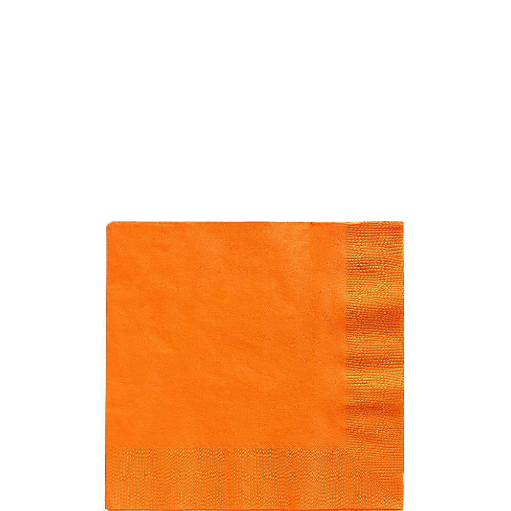 Orange Plastic Tableware Kit for 100 Guests Image #4