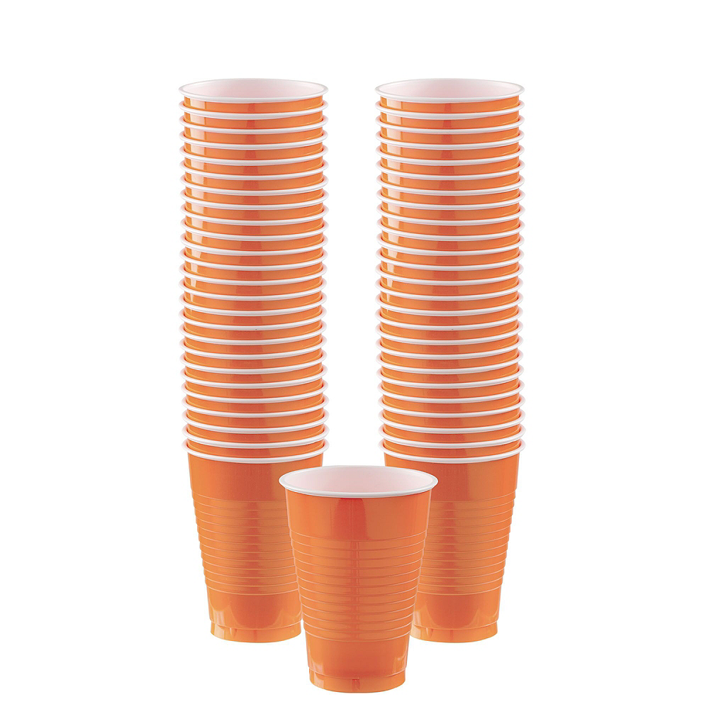 Orange Plastic Tableware Kit for 100 Guests Image #6