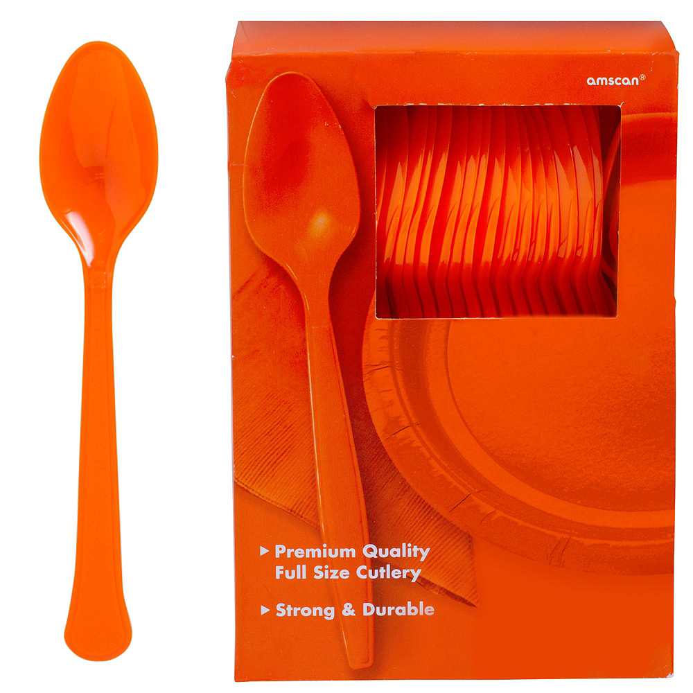 Orange Plastic Tableware Kit for 100 Guests Image #9