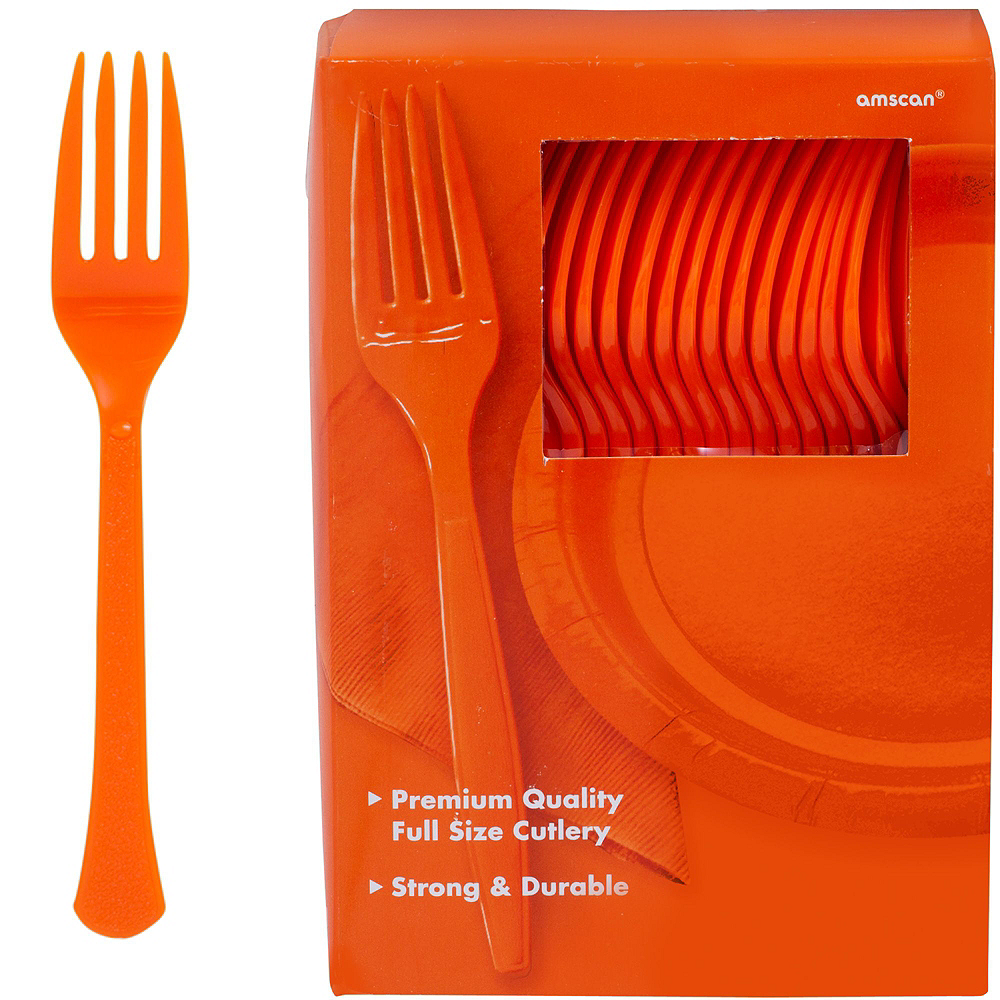 Orange Plastic Tableware Kit for 100 Guests Image #10
