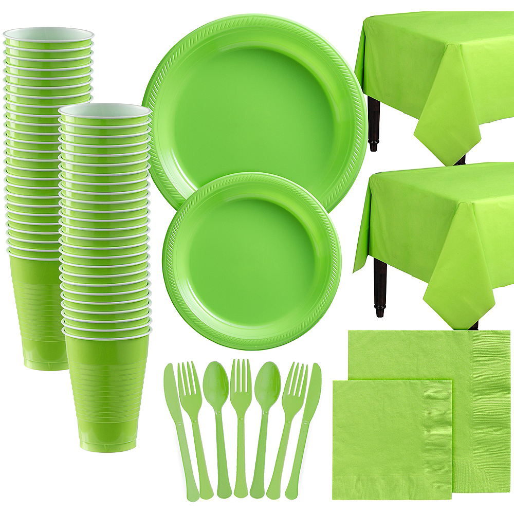 Kiwi Green Plastic Tableware Kit for 100 Guests Image #1