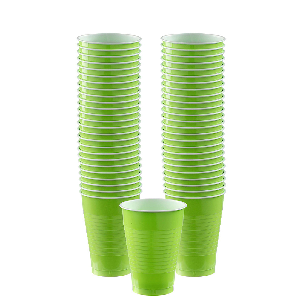 Kiwi Green Plastic Tableware Kit for 100 Guests Image #6