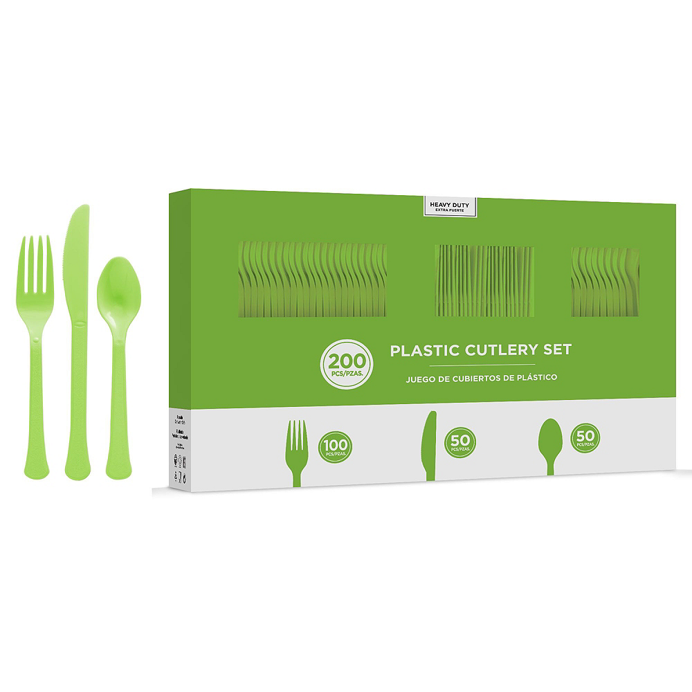 Kiwi Green Plastic Tableware Kit for 100 Guests Image #8