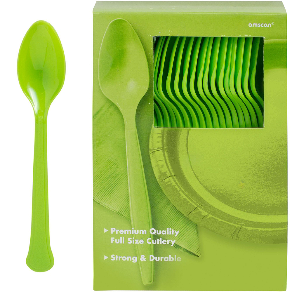 Kiwi Green Plastic Tableware Kit for 100 Guests Image #10