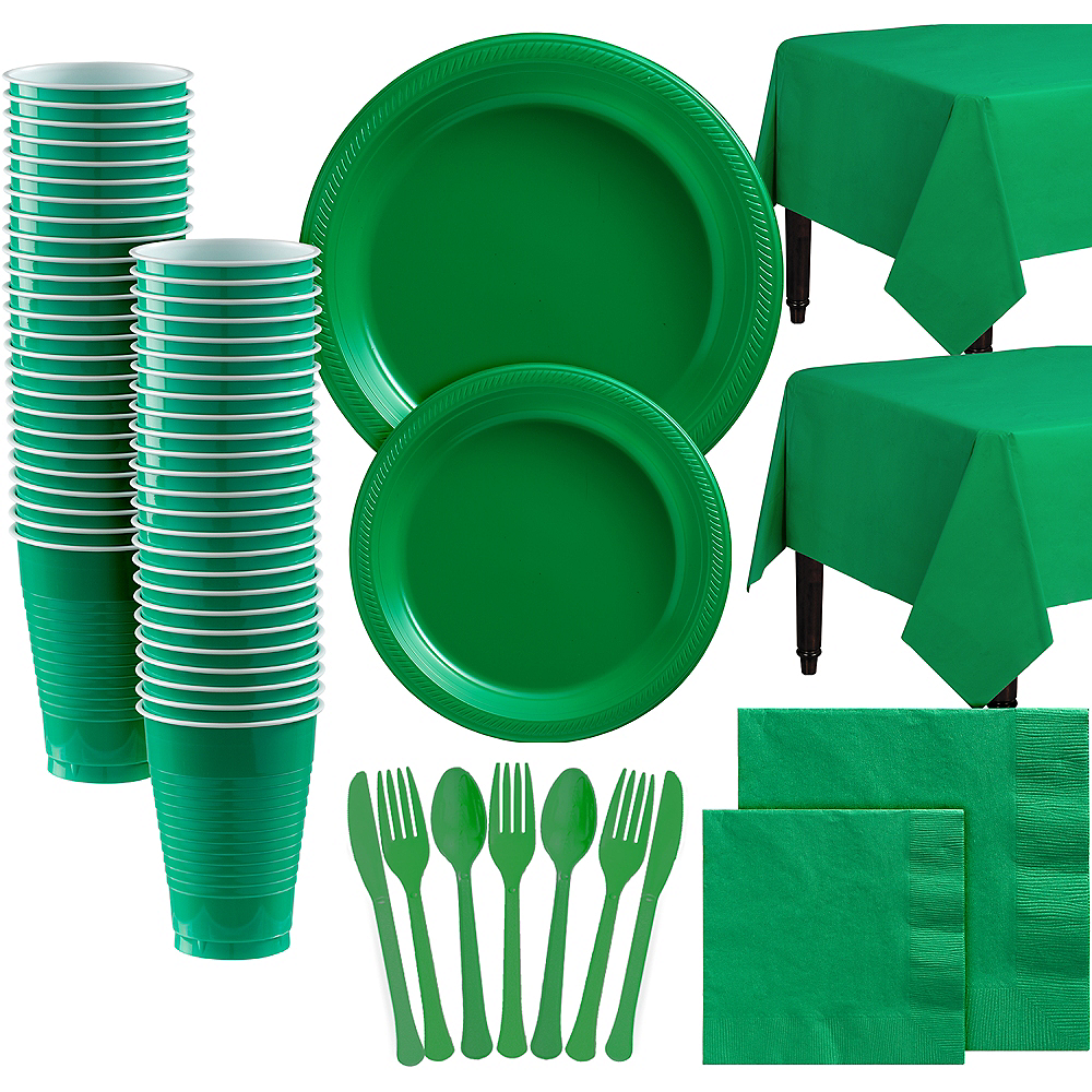Festive Green Plastic Tableware Kit for 100 Guests Image #1