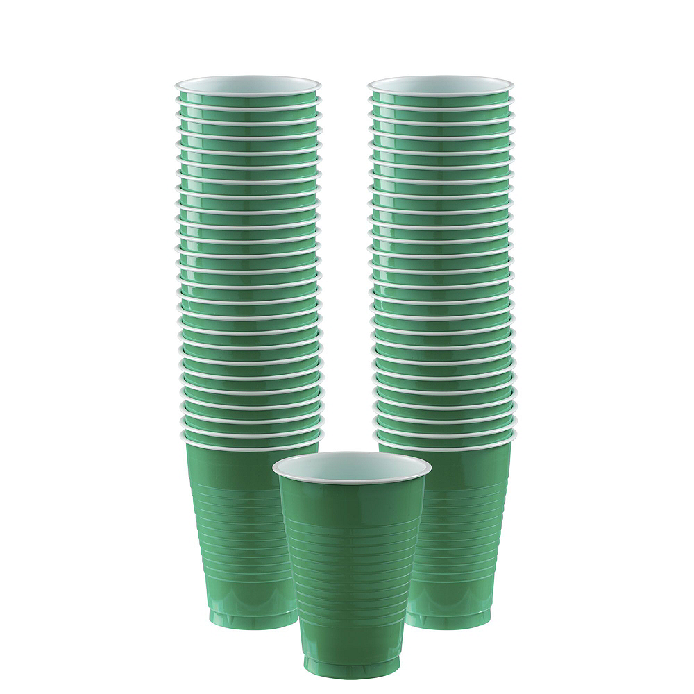 Festive Green Plastic Tableware Kit for 100 Guests Image #6