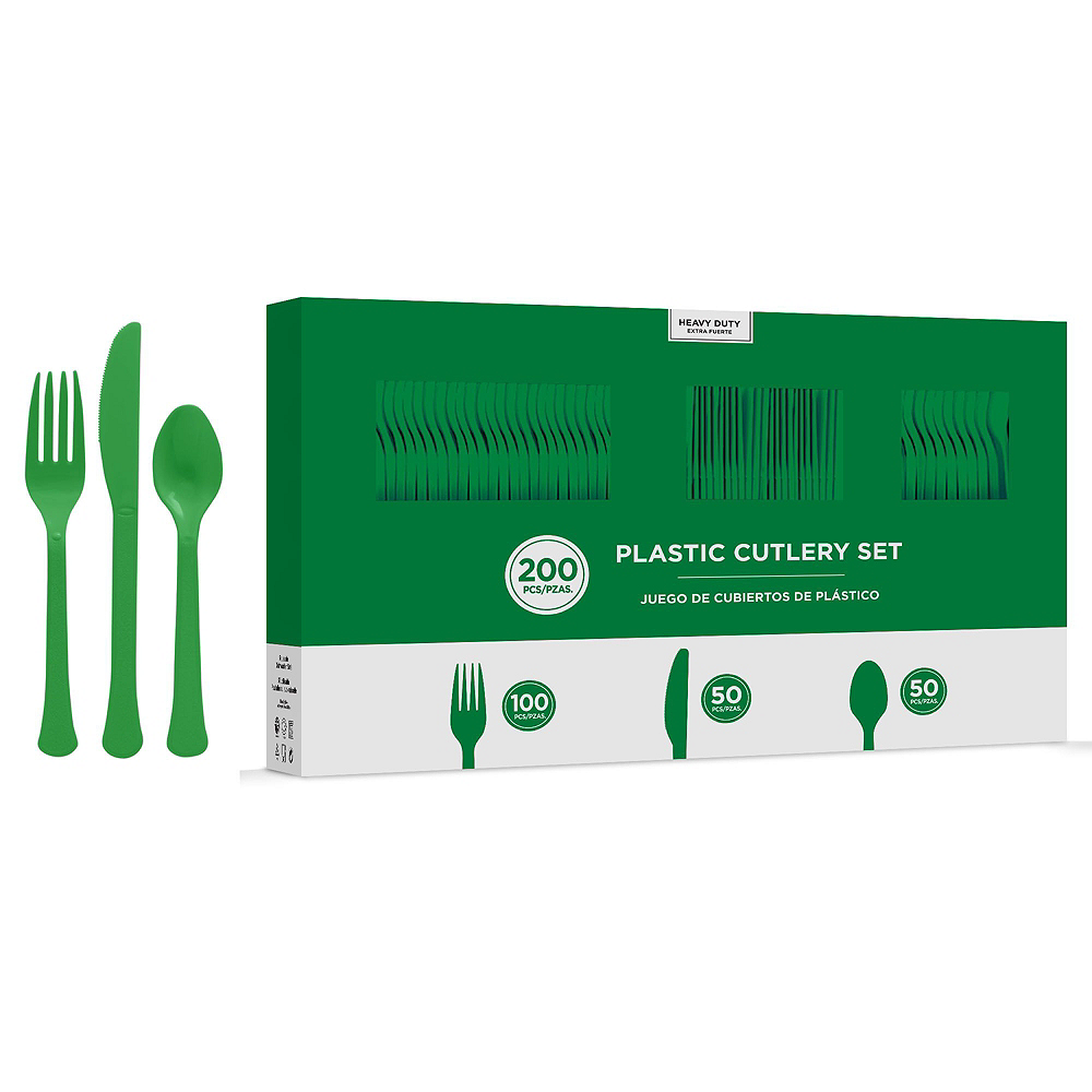 Festive Green Plastic Tableware Kit for 100 Guests Image #8