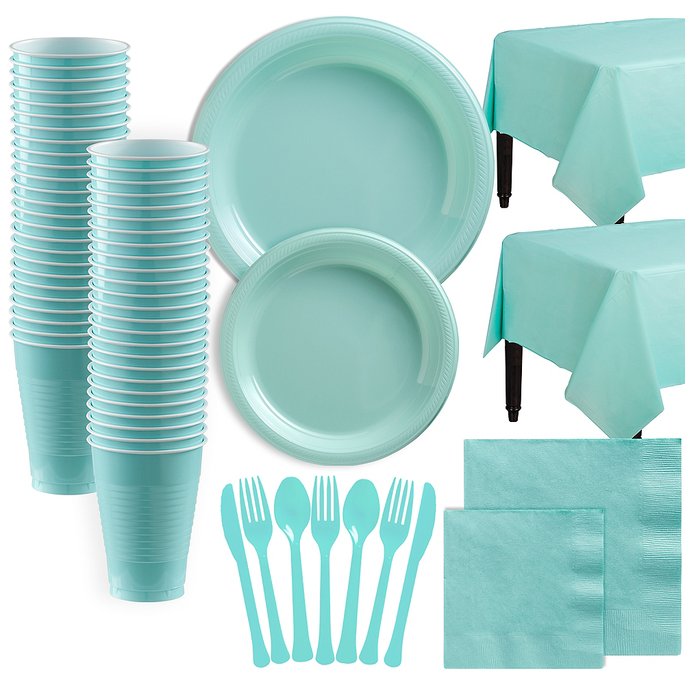 Robin's Egg Blue Plastic Tableware Kit for 100 Guests Image #1